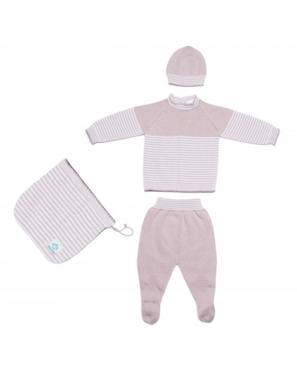 Pack Recien Nacido Sin Costuras - Rosa-Blanco