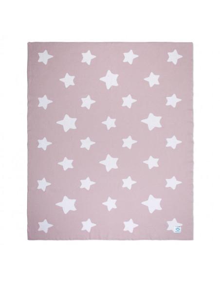 Manta bebé estrellas rosa