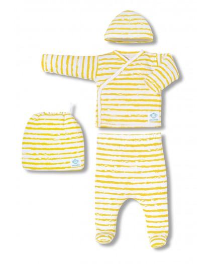 Primera puesta bebé rayas Ocre