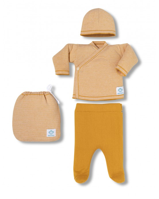 Multi stripes newborn pack yellow