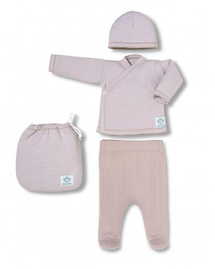 Primera Puesta Bebé multirayas rosa y blanco de micu micu