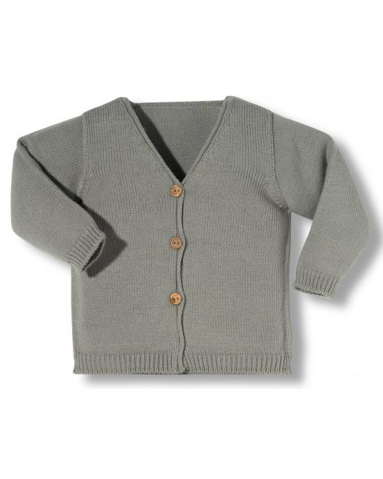 chaqueta Newborn con botones gris