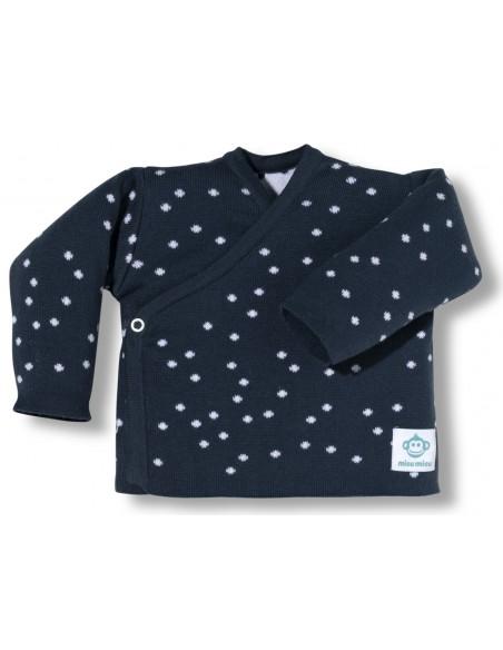 camiseta primera puesta bebe topitos azul y blanco