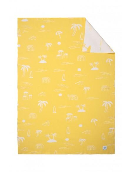 Manta Bebé playa amarillo y blanco