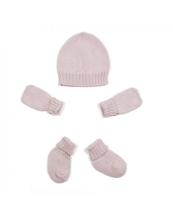 Hat, mittens and socks pink