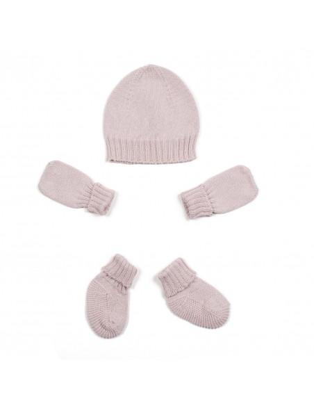 micumicu - Conjunto de gorro, manoplas y calcetines rosa
