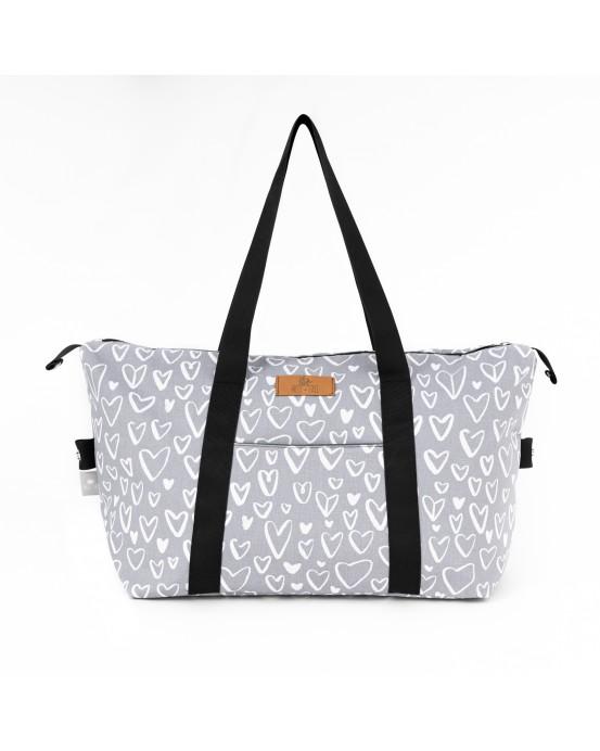 bolso de viaje love gris