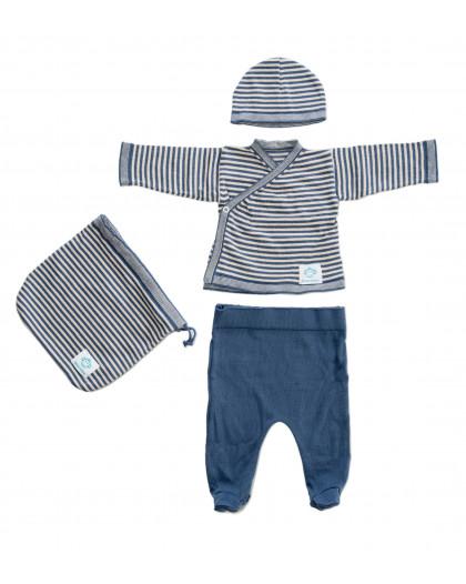 Primera puesta bebé rayas Azul Beige