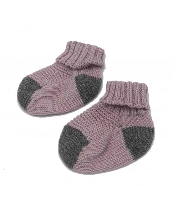 Calcetines bebé rosa-plomo