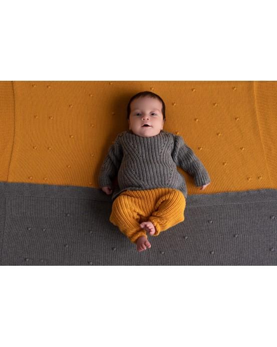 Grey pearl knit sweater