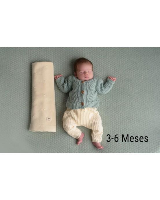 MicuMicu - Pack de chaqueta mint, pantalón crudo y manta crudo. Talla 3-6m