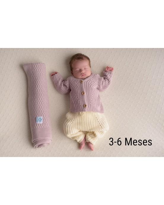 MicuMicu - Pack de chaqueta rosa, pantalón crudo y manta rosa. Talla 3-6m