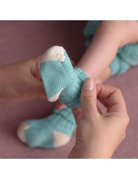 micu micu - Calcetines bebé mint-crudo
