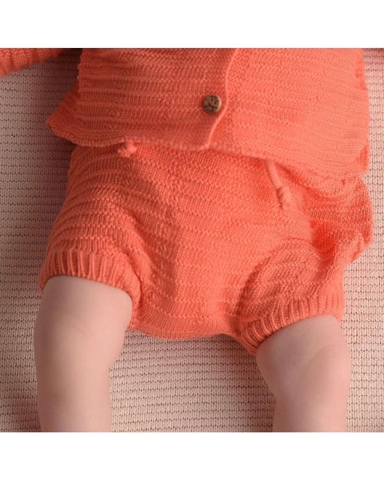 Coral knitwear shorts