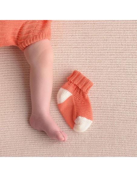 micu micu - Calcetines bebé coral-crudo