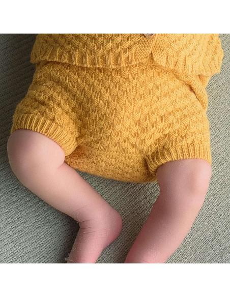 micu micu - Shorts bebe rectangulos ocre