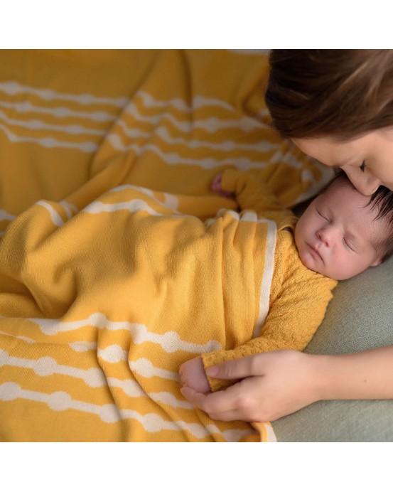 Ochre bubbles baby blanket