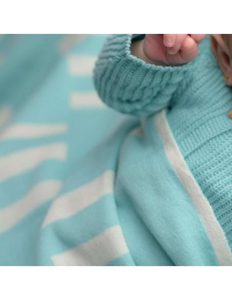 micu micu - Manta bebé verano rectangulos crudo-mint