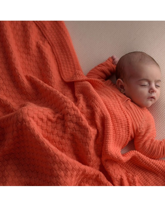 Square baby blanket coral