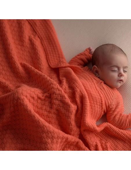 micu micu - Manta bebé cuadros Coral