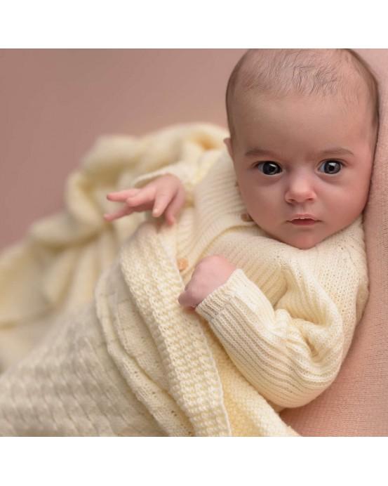 Square baby blanket ecru