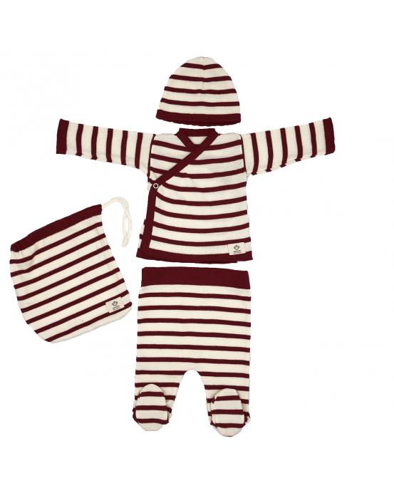 Multi stripes newborn pack burdeos