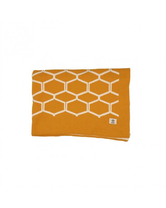 Manta bebé nido de abeja ocre
