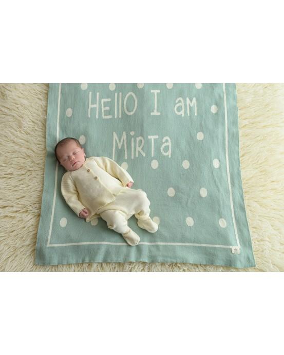 Manta personalizada Bebé Hello I´m