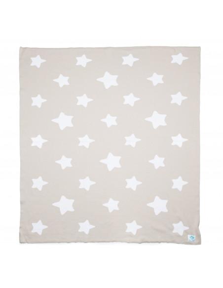 Manta bebé estrellas beige