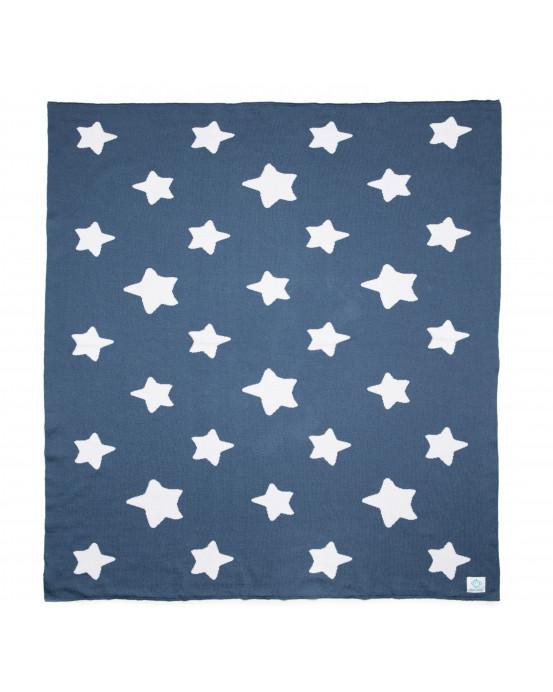 Manta bebé estrellas azul