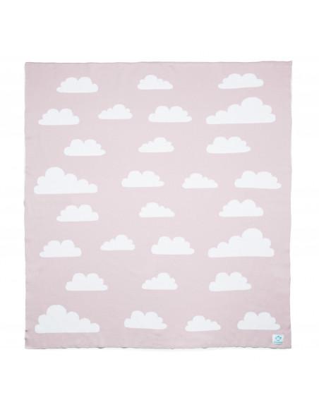 Manta bebé nubes rosa