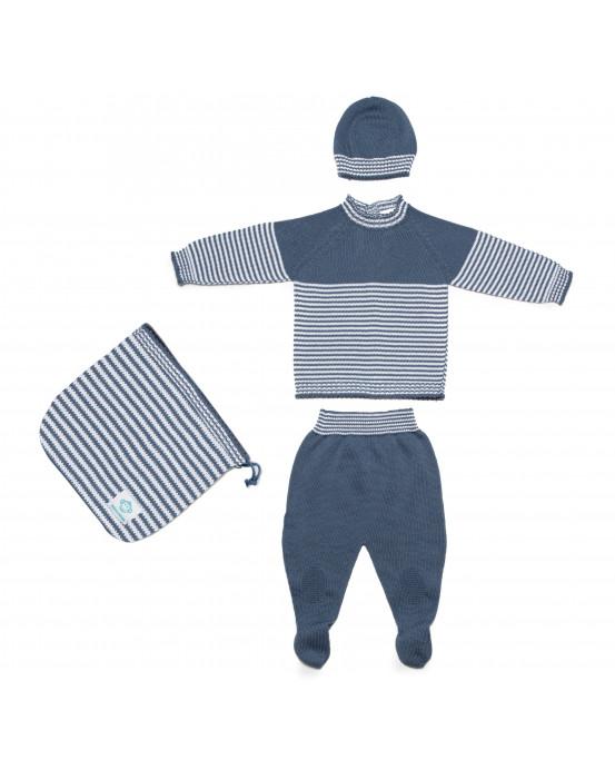 Pack Recien Nacido Sin Costuras Azul Blanco