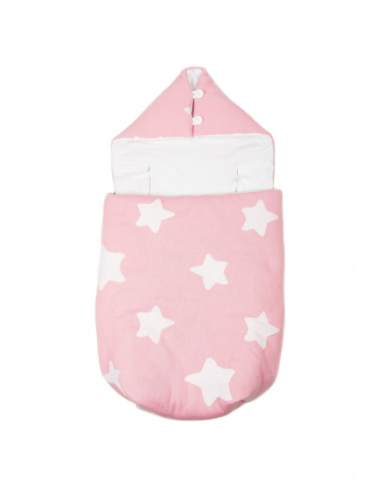 Knitted Baby Sack Pink-White