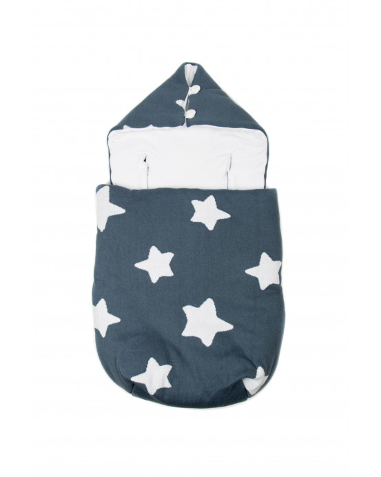 Knitted Baby Sack Blue-White