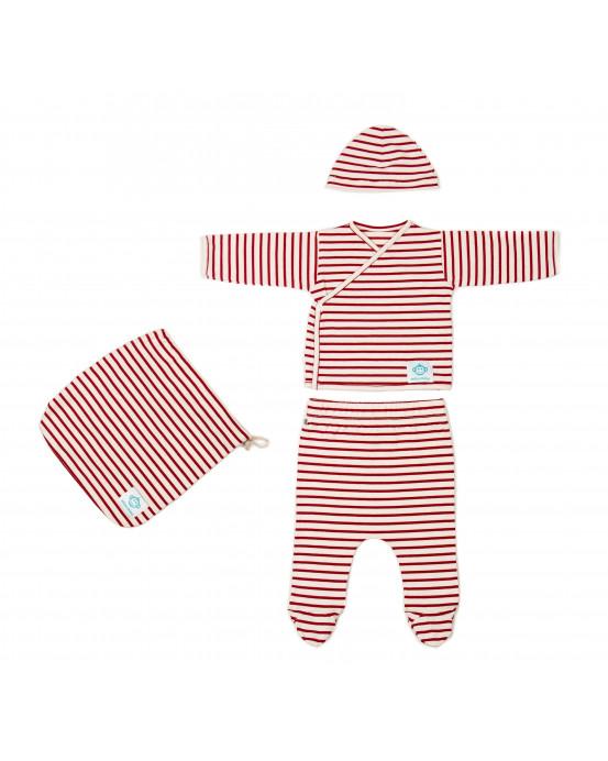 Pack Recien Nacido Rayas Rojo