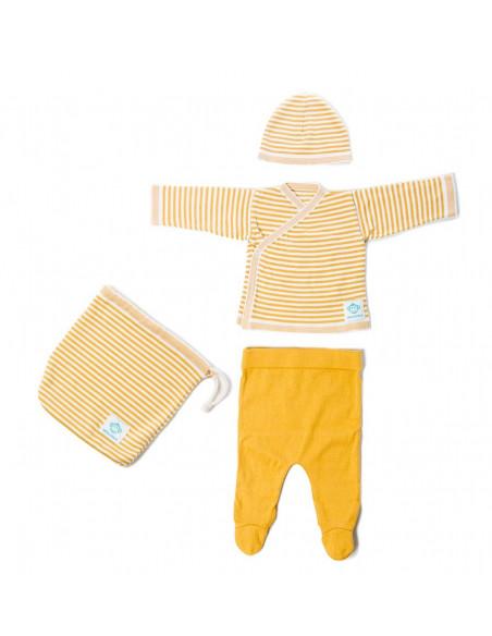 Primera puesta bebé rayas Ocre Blanco