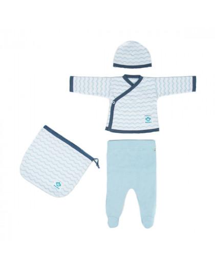 Newborn Pack Ondas Blue White