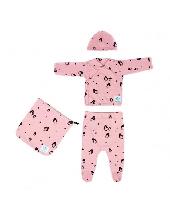 Newborn Pack Pinguinos Pink