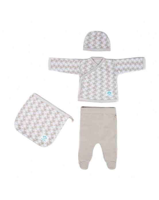 Newborn Pack Triangulos Beige White