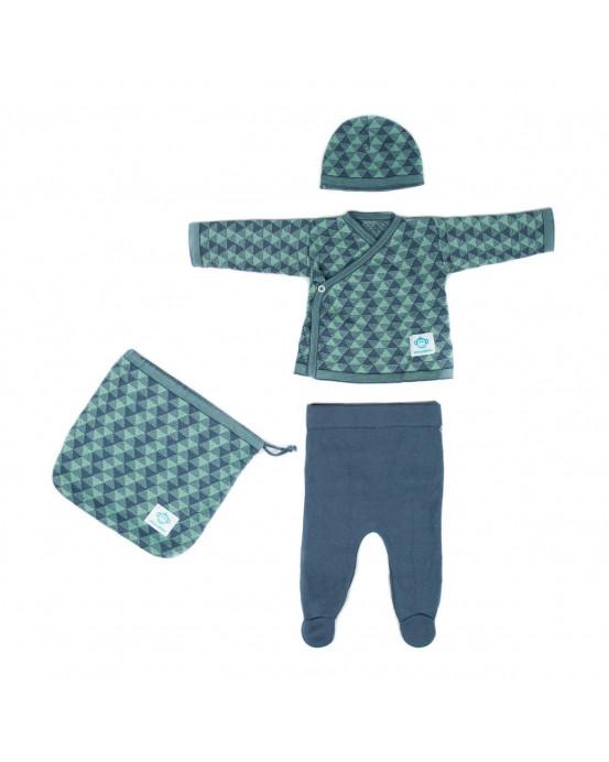 Pack Recien Nacido Triangulos Azul Verde