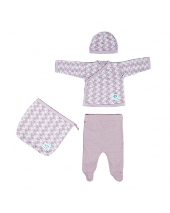 Newborn Pack Triangulos Pink White